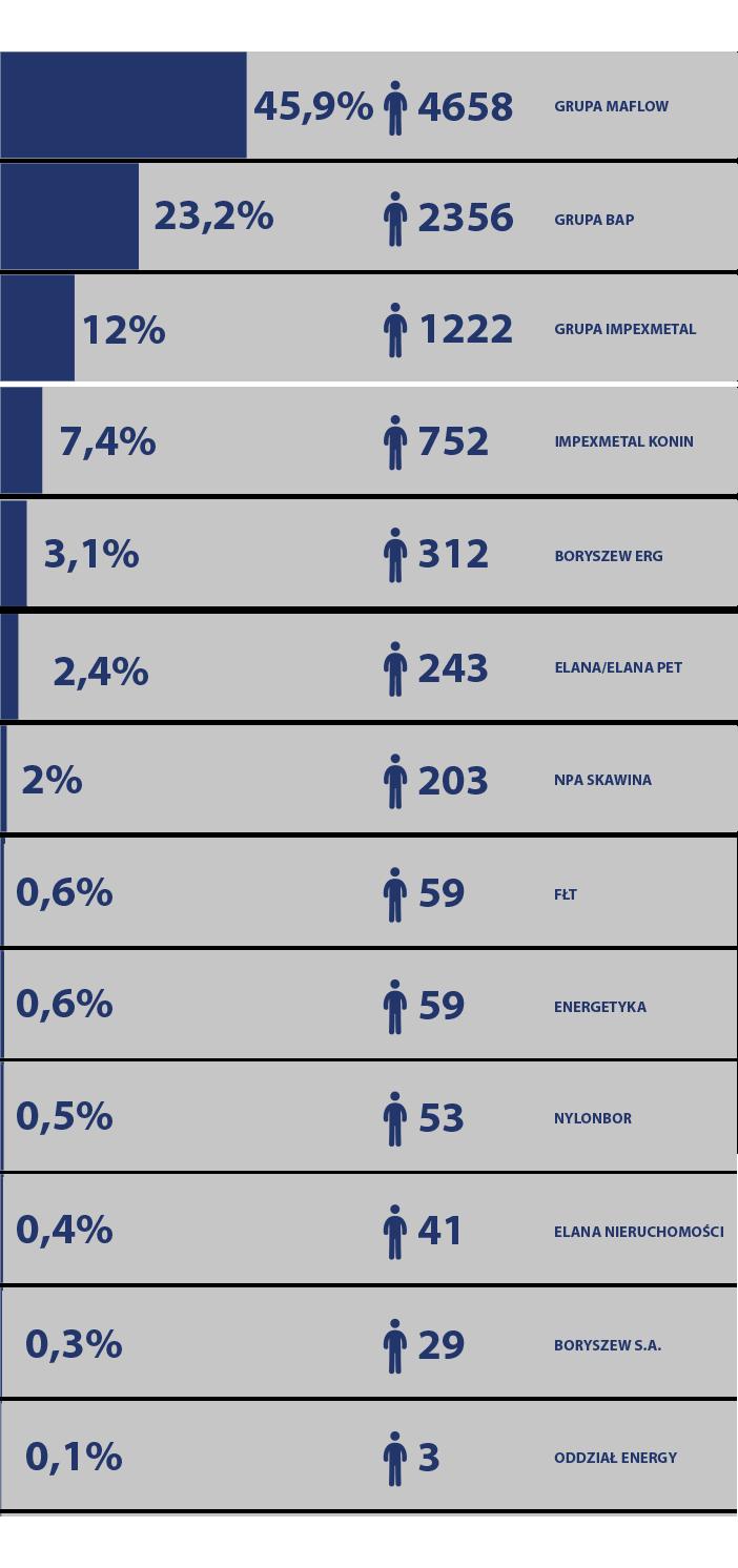 Boryszew liczba zatrudnionych